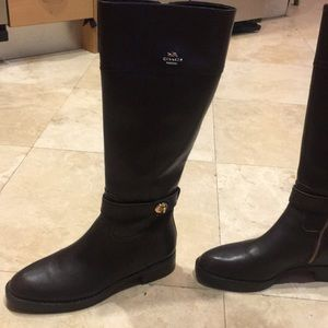 Coach Eva Riding Boots in Chestnut Brown